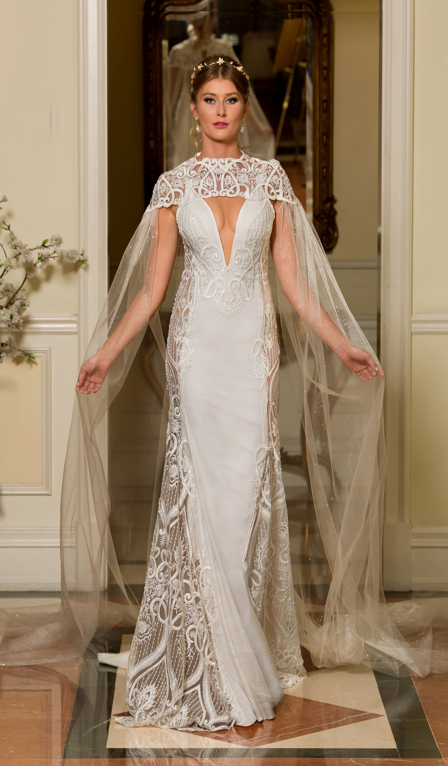 Naama and Anat Haute Couture, Wedding Dress Trends, 2018 Wedding Dress Trends, Naama and Anat Bridal, Couture Wedding Dress, Luxury Wedding Gown, Khalisi Gown, cape